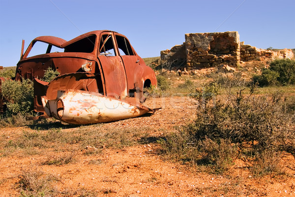 an old rusting car and ruins in the desert Stock photo © clearviewstock