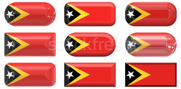 Dziewięć szkła przyciski banderą tle Zdjęcia stock © clearviewstock