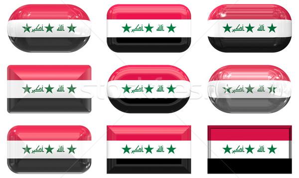 Dziewięć szkła przyciski banderą Irak Zdjęcia stock © clearviewstock