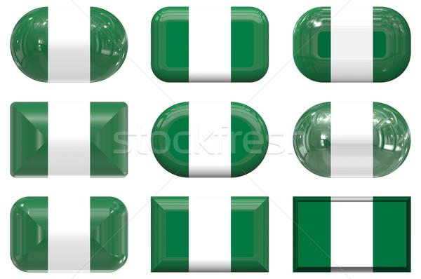 Nove vidro botões bandeira Nigéria Foto stock © clearviewstock