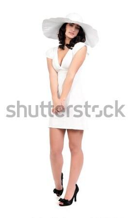 Mulher jovem vestido branco seis belo jovem moda Foto stock © clearviewstock