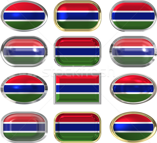 Twaalf knoppen vlag Gambia Stockfoto © clearviewstock