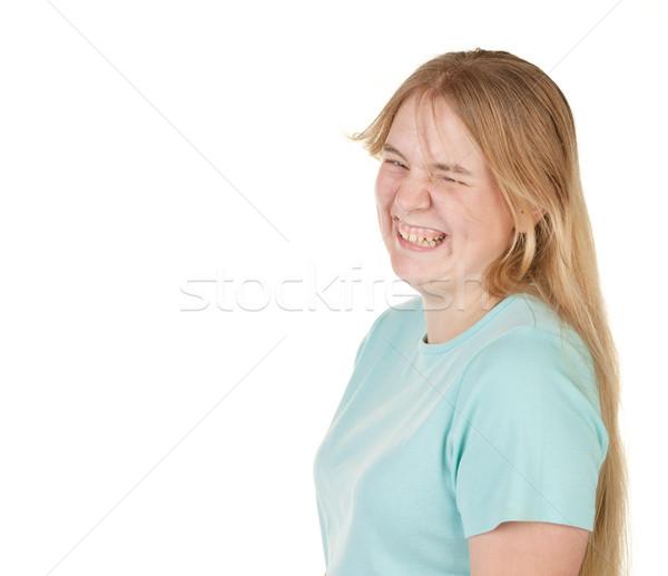 Tinilány viccelődés nevet rendetlen haj nő Stock fotó © clearviewstock