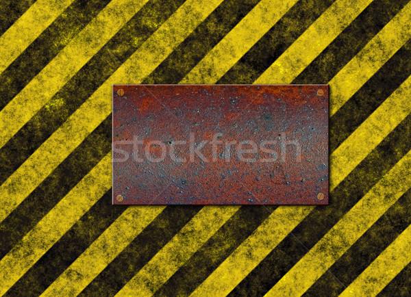hazard stripes plaque Stock photo © clearviewstock