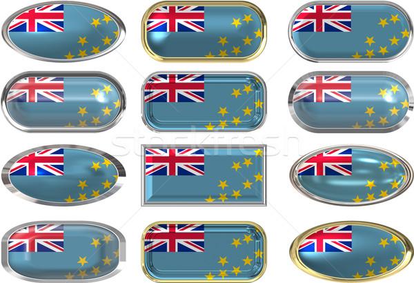 Foto stock: Doze · botões · bandeira · Tuvalu