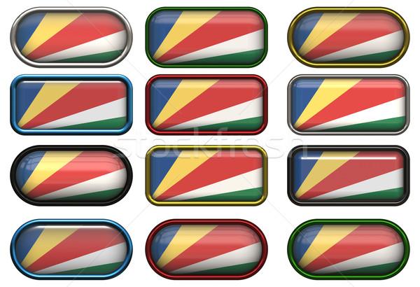 Tizenkettő gombok zászló Seychelle-szigetek Stock fotó © clearviewstock