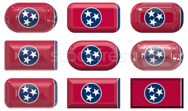 Dziewięć szkła przyciski banderą Tennessee Zdjęcia stock © clearviewstock