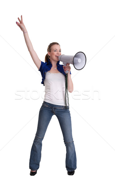 young woman wiht megaphone or bullhorn Stock photo © clearviewstock