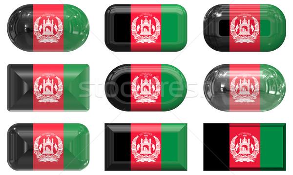 Dokuz cam düğmeler bayrak Afganistan Stok fotoğraf © clearviewstock