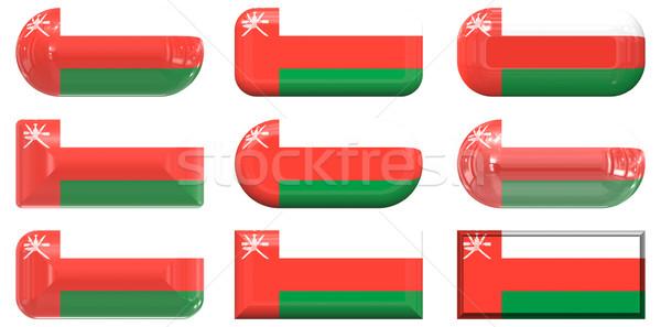 Dokuz cam düğmeler bayrak Umman Stok fotoğraf © clearviewstock
