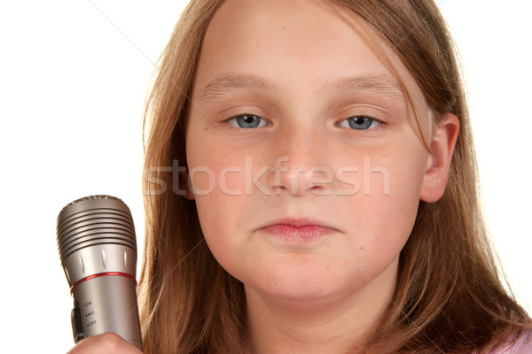 unhappy girl when microphone turned off Stock photo © clearviewstock