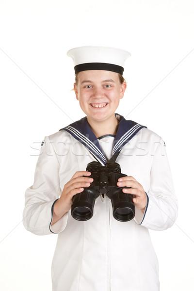Сток-фото: молодые · моряк · бинокль · изолированный · белый · женщины