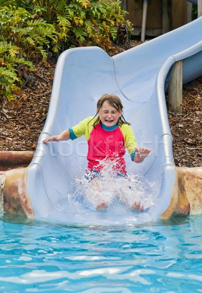 ダウン スライド 若い女の子 ウォータースライド 少女 顔 ストックフォト © clearviewstock