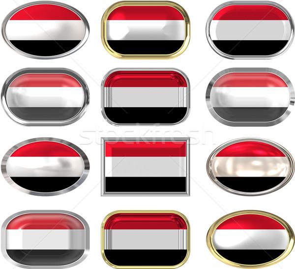 двенадцать Кнопки флаг Йемен Сток-фото © clearviewstock