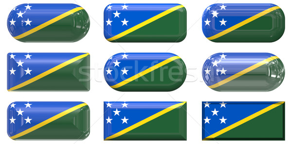 nine glass buttons of the Flag of Solomon Islands Stock photo © clearviewstock