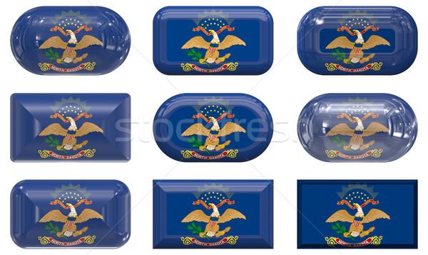 Dokuz cam düğmeler bayrak Kuzey Dakota Stok fotoğraf © clearviewstock