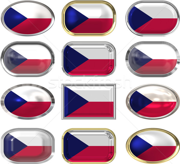 двенадцать Кнопки флаг чешский Сток-фото © clearviewstock