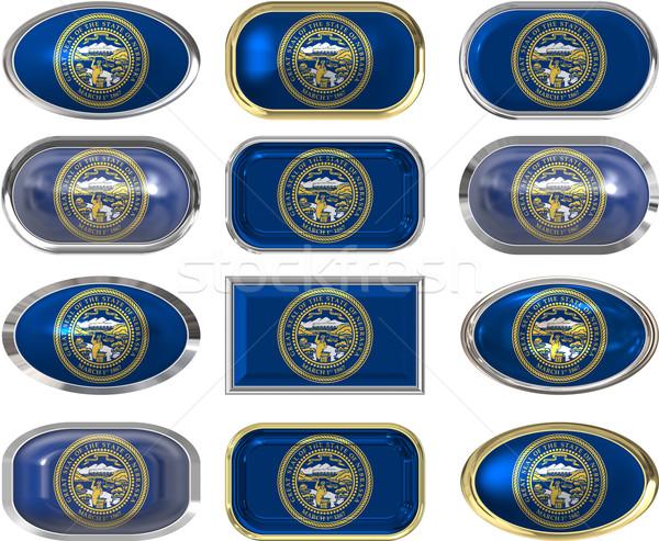 12 pulsanti bandiera Nebraska dodici Foto d'archivio © clearviewstock