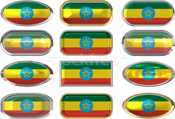 Dodici pulsanti bandiera tessuto pulsante Foto d'archivio © clearviewstock