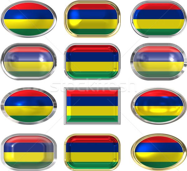 двенадцать Кнопки флаг Маврикий Сток-фото © clearviewstock