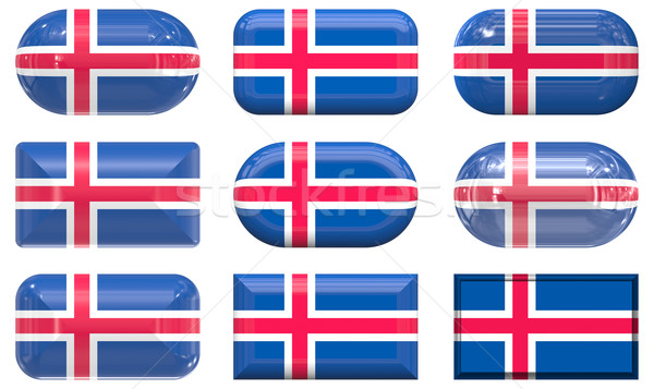 nine glass buttons of the Flag of Iceland Stock photo © clearviewstock