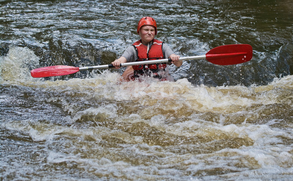 teenage girl white water kayaking Stock photo © clearviewstock