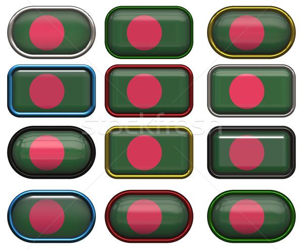 Doze botões bandeira Bangladesh Foto stock © clearviewstock