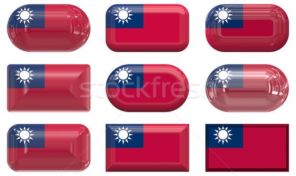 Dokuz cam düğmeler bayrak Tayvan Stok fotoğraf © clearviewstock
