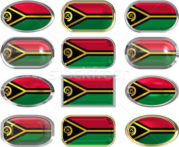 Dodici pulsanti bandiera Vanuatu Foto d'archivio © clearviewstock
