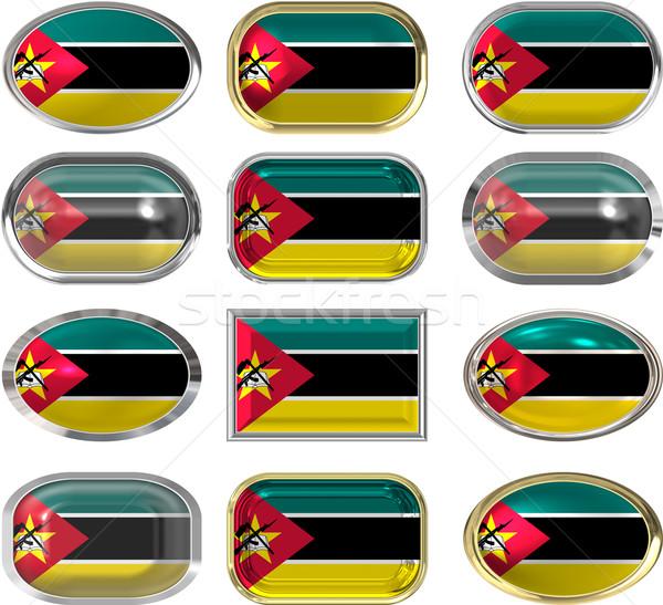 Doze botões bandeira Moçambique Foto stock © clearviewstock