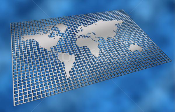 Metal sieci mapie świata srebrny wzór ściany Zdjęcia stock © clearviewstock