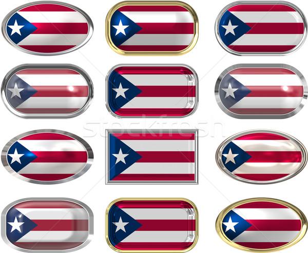 12 knoppen vlag Puerto Rico twaalf groot Stockfoto © clearviewstock