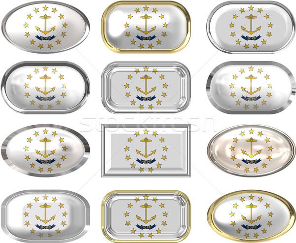 12 botões bandeira Rhode Island doze Foto stock © clearviewstock