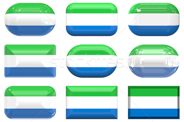 nine glass buttons of the Flag of Sierra Leone Stock photo © clearviewstock