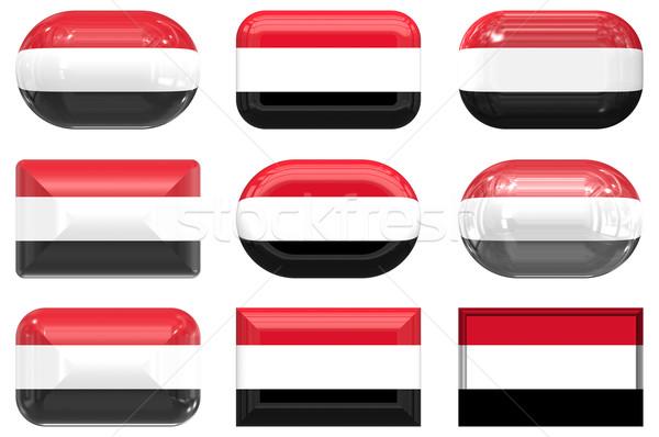 Dziewięć szkła przyciski banderą Jemen Zdjęcia stock © clearviewstock