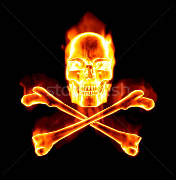 fiery skull and cross bones Stock photo © clearviewstock
