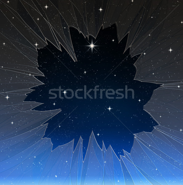 bright star through smashed window Stock photo © clearviewstock