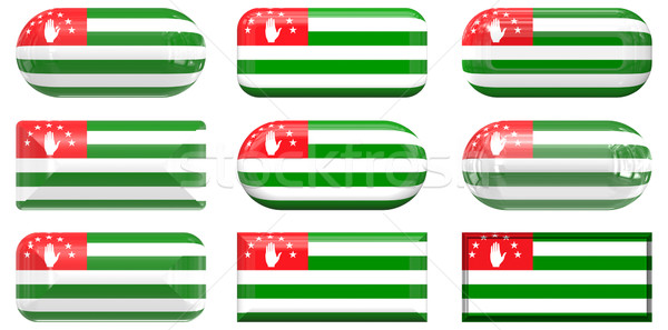 nine glass buttons of the Flag of Abkhazia Stock photo © clearviewstock