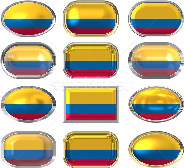 Dodici pulsanti bandiera Colombia Foto d'archivio © clearviewstock