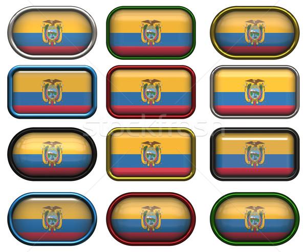 Dodici pulsanti bandiera Ecuador Foto d'archivio © clearviewstock
