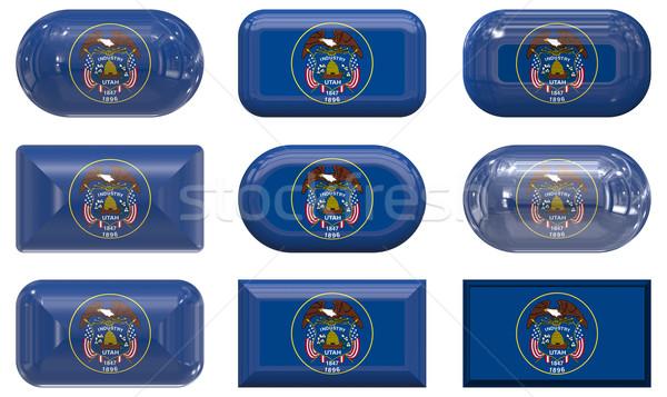 Dziewięć szkła przyciski banderą Utah Zdjęcia stock © clearviewstock
