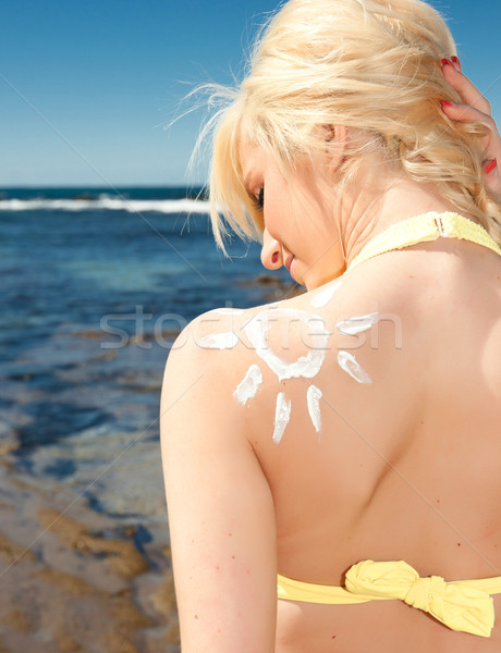 young woman with sunscreen sun Stock photo © clearviewstock