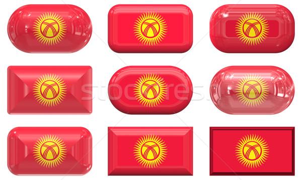 Dokuz cam düğmeler bayrak Kırgızistan Stok fotoğraf © clearviewstock