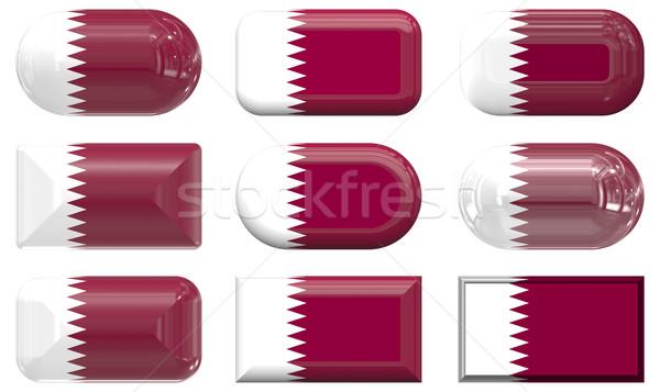 Dokuz cam düğmeler bayrak Katar Stok fotoğraf © clearviewstock