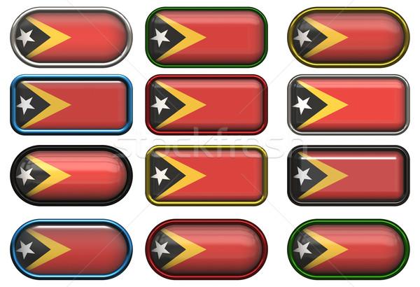 Doze botões bandeira fundo botão materialismo Foto stock © clearviewstock