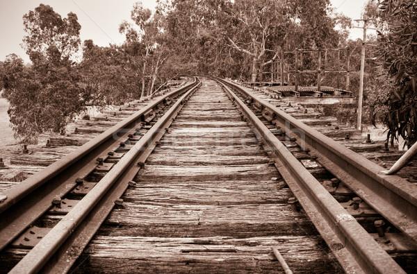ストックフォト: 鉄道 · 橋 · ブラウン · セピア · 画像 · 見える