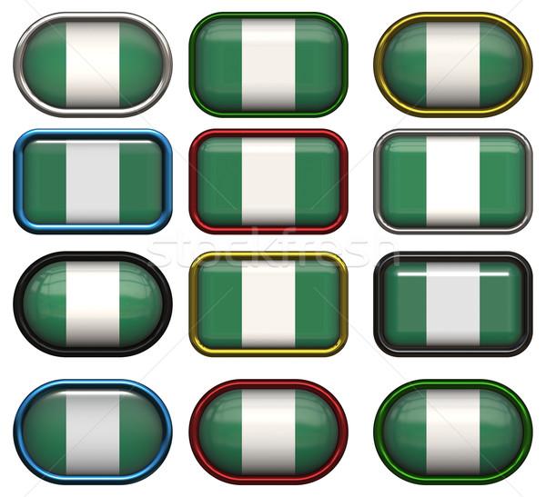 Bandeira Nigéria doze botões fundo Foto stock © clearviewstock