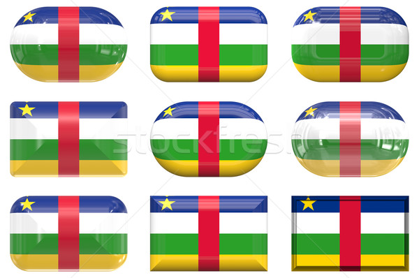 nine glass buttons of the Flag of Central African Republic Stock photo © clearviewstock