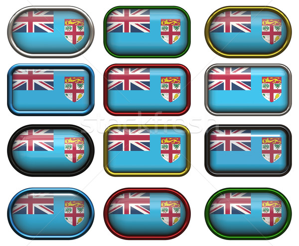 Twaalf knoppen vlag Fiji Stockfoto © clearviewstock