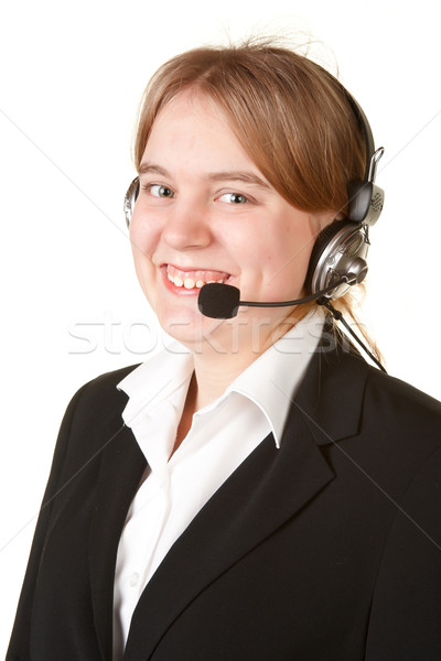 young business woman with headset  isolated on white Stock photo © clearviewstock